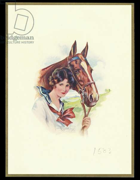 Chocolate box design, lady and horse