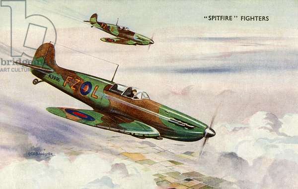 A pair of RAF Supermarine Spitfire Fighters