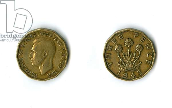 British coin, George VI threepenny bit