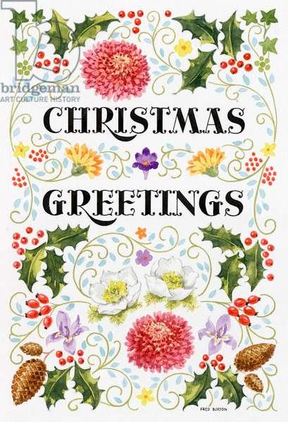 Christmas Greetings with chrysanthemums etc