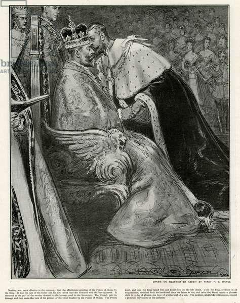 Prince George giving homage to King Edward at coronation
