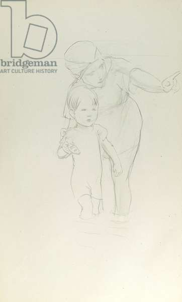 Pencil sketch of mother and child paddling