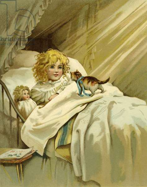 Child in bed with her doll