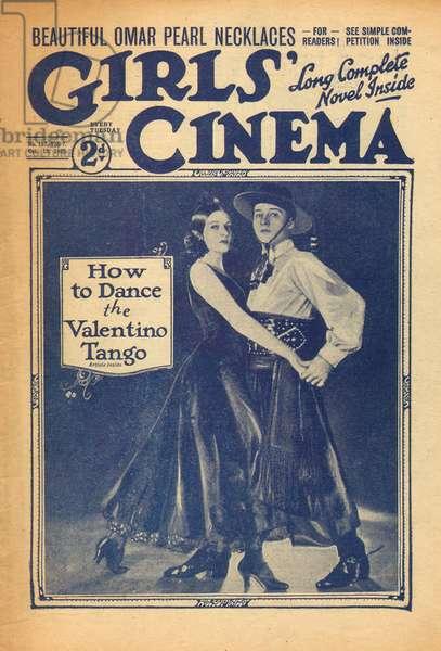 Film actor Rudolph Valentino dancing the tango