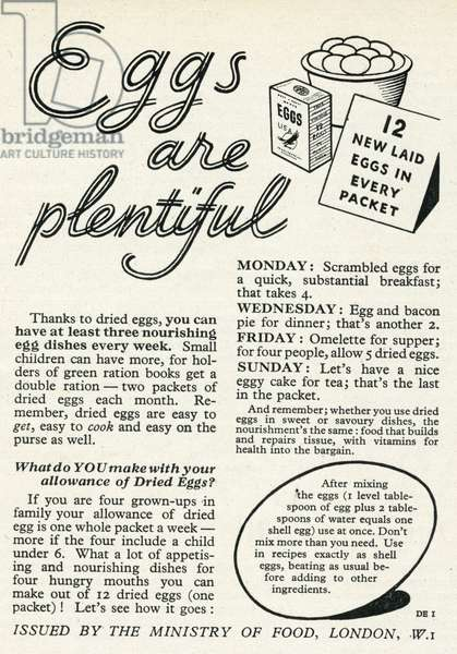 Advert for the Ministry of Food 1944