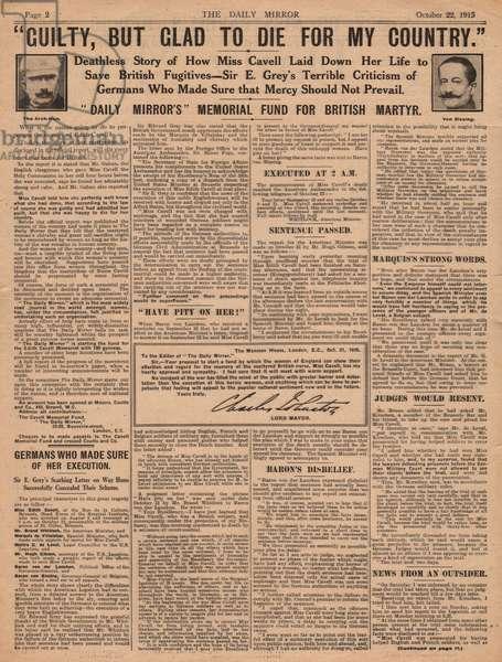 Death of Nurse Edith Cavell, WW1