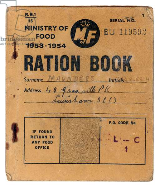 RATION BOOK 1953 - 1954
