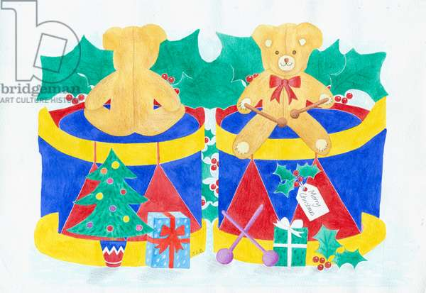 Teddy and Drum with holly, presents, Christmas tree