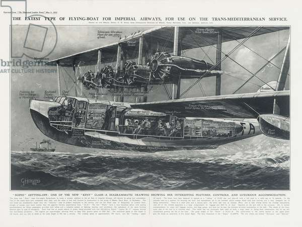 Imperial Airways Poster, seaplane Scipio