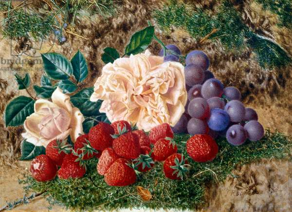Pink roses, strawberries and black grapes