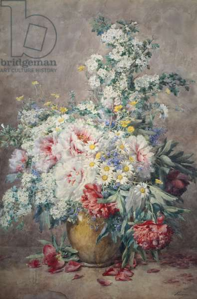Hawthorn and Peonies etc in a Vase