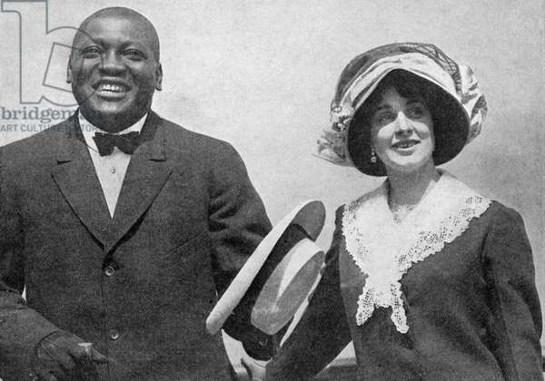 Jack Johnson and his first wife,