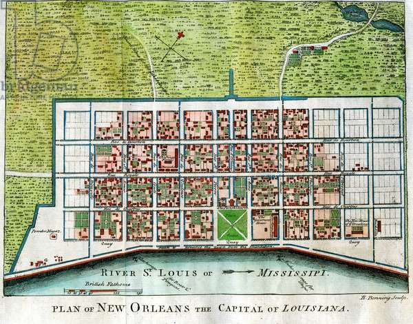 Town Plan of New Orleans Capital of Louisiana
