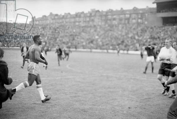 Scotland v Brazil International Friendly at Hampden Park, 25th June 1966. A shirtless Pele, after the match. Final score:Scotland 1-1 Brazil (photo)