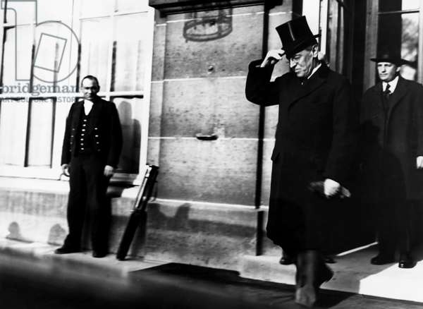 Woodrow Wilson leaving Peace Conference at Versailles, 1919 (b/w photo)