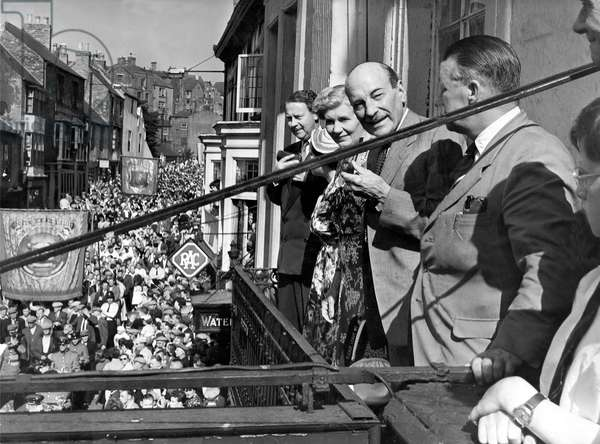 Durham Miners Gala, Clement Attlee and Hugh Gaitskell watch the rally, 16th July 1955 (b/w photo)