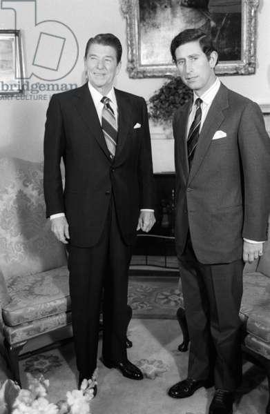 Prince Charles visits US President Ronald Reagan, May 1981 (b/w photo)