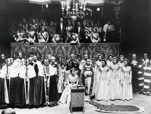 The Coronation of Queen Elizabeth II was the ceremony in which the newly ascended monarch, Elizabeth II, was crowned Queen of the United Kingdom, Canada, Australia, New Zealand, South Africa, Ceylon, and Pakistan, as well as taking on the role of Head of the Commonwealth, (Picture) The Coronation of Queen Elizabeth II 2nd June 1953 (b/w photo)