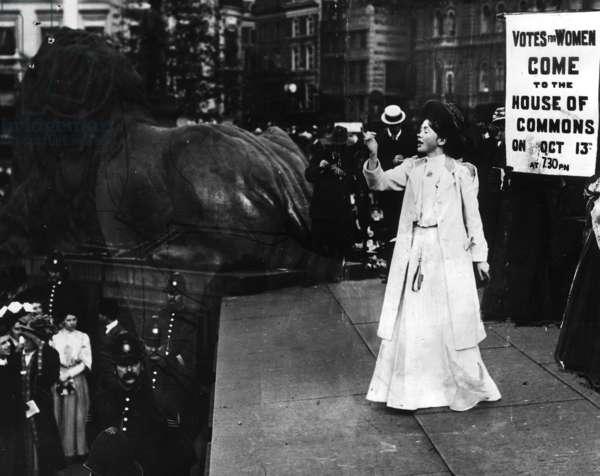 Christabel Pankhurst addressing an unemployed meeting, 1908 (b/w photo0