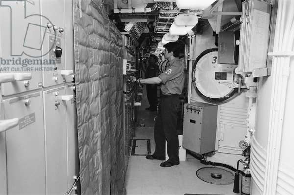 Interior of Polaris submarine HMS Resolution, 21st May 1970 (b/w photo)