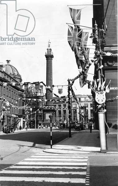 Queen Elizabeth II, Princess Elizabeth - Coronation - Grainger Street, Newcastle covered in coronation decorations, 1950 (b/w photo)