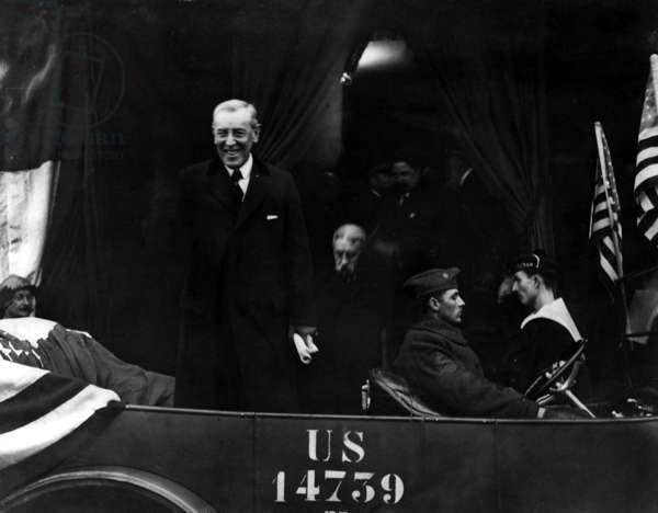 President Woodrow Wilson arrives in France, December 1918 (b/w photo)
