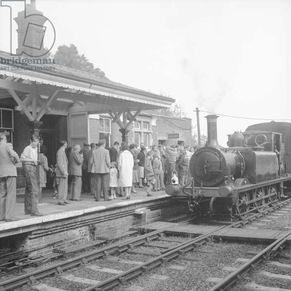 The massive part that preserved railways now play in British tourism started with the reopening of the Bluebell Line in East Sussex, on August 8, 1960 (b/w photo)