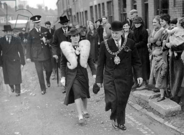 The Duchess of Gloucester touring bombed areas of Coventry with the Mayor, Alderman J. Moseley, November 1940 (b/w photo)