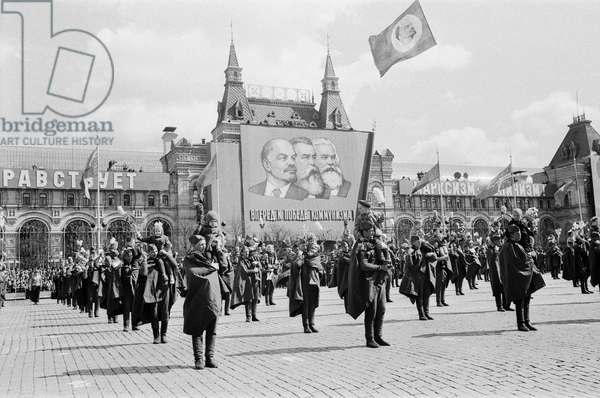 May Day Parade in Red Square, 9th May 1967 (b/w photo)