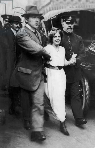 Suffragette Annie Kenney Arrested by Police Officers, 1905 (b/w photo)