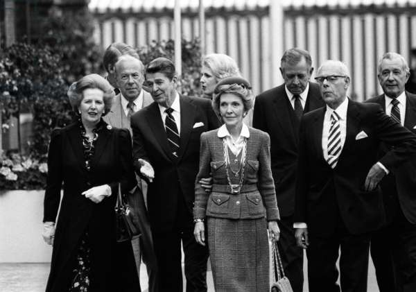 Ronald Reagan and Margaret Thatcher during a state visit to Britain with Denis Thatcher and Nancy Reagan in 1984 (b/w photo)