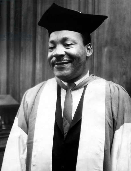 Dr Martin Luther King pictured at Newcastle University for the receiving of an honorary degree of Doctor of Civil Law, 13th November, 1967 (b/w photo)
