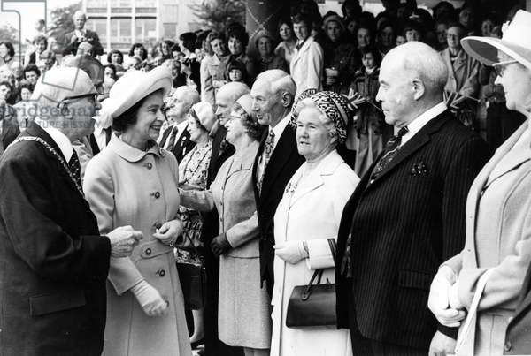 Queen Elizabeth II and Prince Philip on the North East Leg of The Jubilee Tour to celebrate the Silver Jubilee, 1977 (b/w photo)