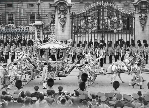 Coronation of Elizabeth II: The Queen leaves Buckingham Palace before the ceremony, 2nd June 1953 (b/w photo)