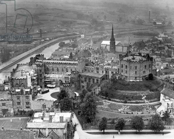 From the roof of Durham Cathedral, a view of the city with the majestic castle in the foreground. 2nd June 1937.