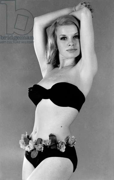 Model wearing a bikini. June 1965