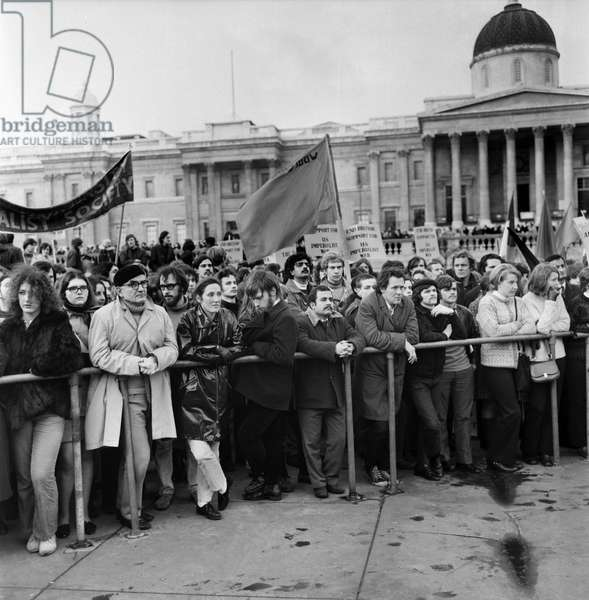 Crowds gather in the square on a Vietnam War demonstration march, November 1969 (b/w photo)