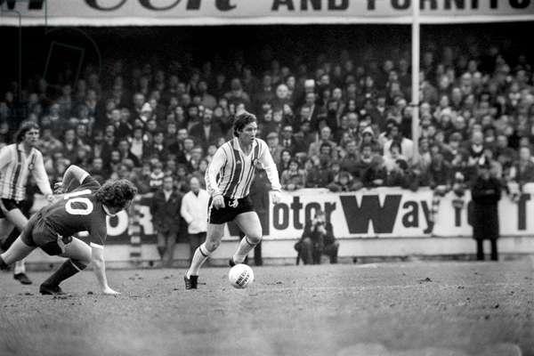 F. A. Cup. Southampton (1) vs. Chelsea (1). Alan Ball captain of Southampton. January 1977 (photo)