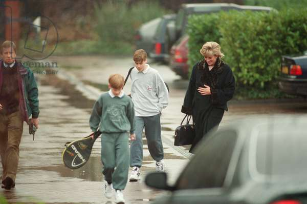 Princess Diana with her two sons Prince Harry (left) and Prince William (centre) at The Harbour Club in Chelsea, West London, 21st December 1995 (photo)
