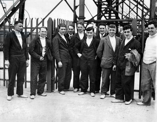 Crew of the Airship R101 seen here in front of the moving tower at the Royal Airship Works Cardington Bedfordshire. October 1929