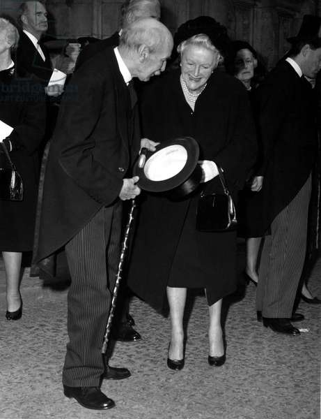 Lady Churchill, seen here on her 80th birthday, talks to Lord Clement Attlee as she leaves Westminster Abbey following the memorial service to the Princess Royal.1st April 1965 (b/w photo)
