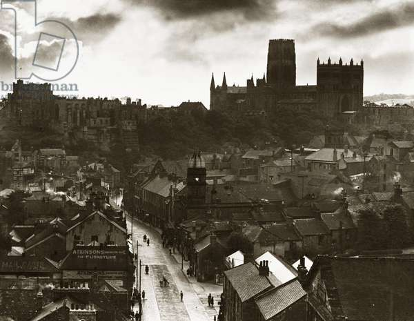 Sunset over Durham Cathedral, c. 1935 (b/w photo)
