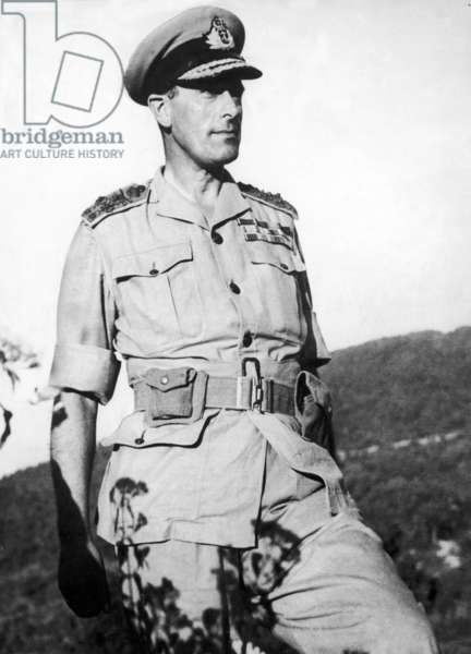 Lord Mountbatten, Supreme Allied Commander of South East Asia Command during a tour of the Arakan front in Burma, 1943 (b/w photo)
