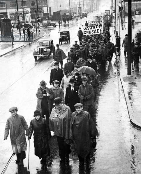 The Jarrow March. The marchers left Jarrow on 5th October 1936. They reached London on 31st October 1936 and they returned to Jarrow, 5th November 1936 (b/w photo)
