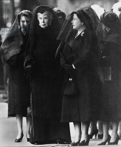 Three Queens; Queen Elizabeth, Queen Mary and the Queen Mother at the funeral of King George VI, 15th February 1952 (b/w photo)