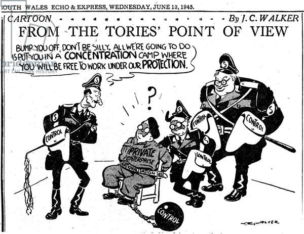 JC Walker World War II Cartoon 'From the Tories Point of View', 13th June 1945(litho)