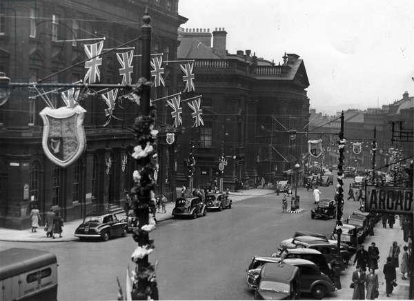 Queen Elizabeth II, Princess Elizabeth - Coronation - Grey Street, Newcastle covered in coronation decorations, 1950, 1950 (b/w photo)