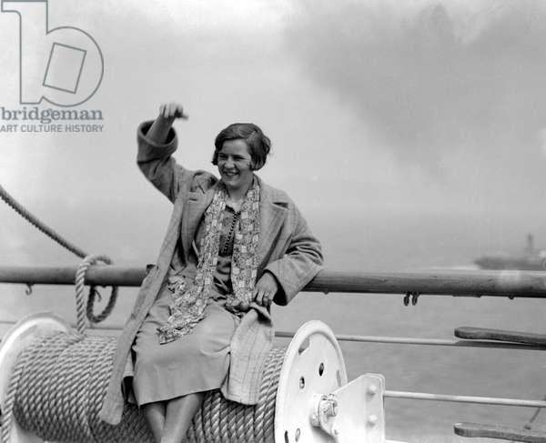 Miss Gertrude Ederle, American swimming champion, arriving in England for an attempt to swim the Channel. 25th June 1925