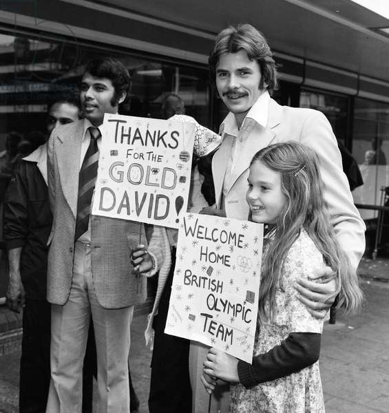 1976 British Olympic Team Returns Home, London Heathrow Airport, 3rd August 1976 (b/w photo)
