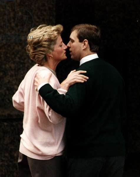 Princess Diana kissing Prince Andrew, March 1990 (b/w photo)